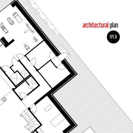 plan maison: Architectural plan de maison dessin. dessin de la mise en page d'une maison priv�e. dessin vectoriel. Architectural background. Une place dans le texte. Illustration