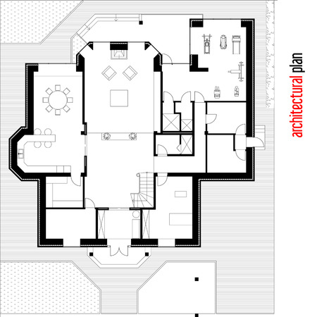 architectural plan: Architectural drawing of a private house. Part of the architectural plan. A Place in the text