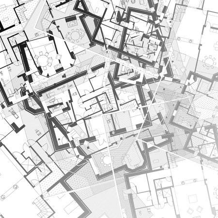 Architecture Plan En Noir Et Blanc De 2 Étage De La Maison D'Un