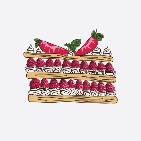 vanilla pudding: Millefeuille with raspberry and strawberry butter cream. Vector drawing
