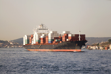 ship bow: The cargo ship, the cargo ship transportation, commercial transportation.