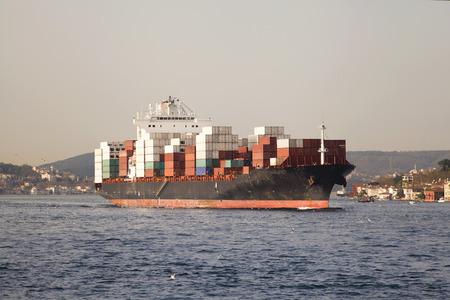 ship bow: The cargo ship, the cargo ship transportation, commercial transportation.