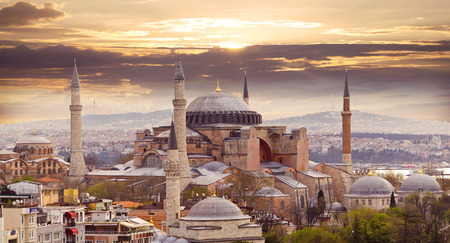 Hagia Sophia in Istanbul. The world famous monument of Byzantine architecture. View of the St. Sophia Cathedral at sunset. Reklamní fotografie - 39860708