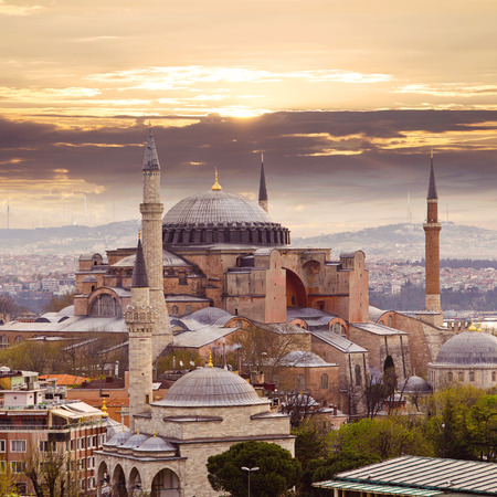 Hagia Sophia in Istanbul. The world famous monument of Byzantine architecture. View of the St. Sophia Cathedral at sunset.