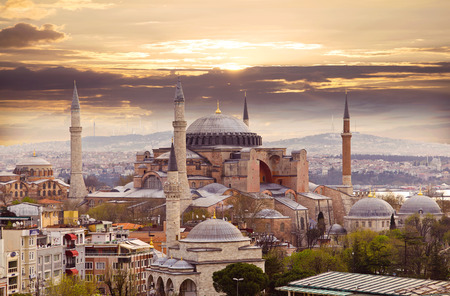 historic architecture: Hagia Sophia in Istanbul. The world famous monument of Byzantine architecture. View of the St. Sophia Cathedral at sunset.