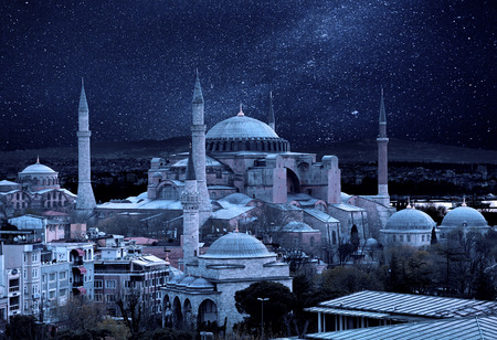 Hagia Sophia in the moonlight. Istanbul, Turkey. Istanbuls main attractions. Night view of the Hagia Sophia. Night landscape of Istanbul.