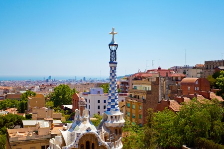 catalunia: Park Guell by architect Gaudi in a summer day  in Barcelona, Spain. Stock Photo