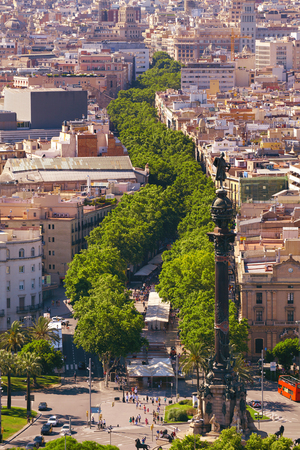 rambla: Ramblas pedestrian street in the center of Barcelona. Landmark of Barcelona. Airview on the Rambla.