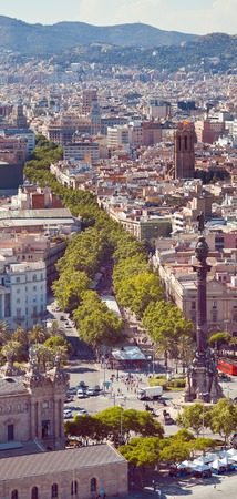 Ramblas pedestrian street in the center of Barcelona. Landmark of Barcelona. Airview on the Rambla. photo