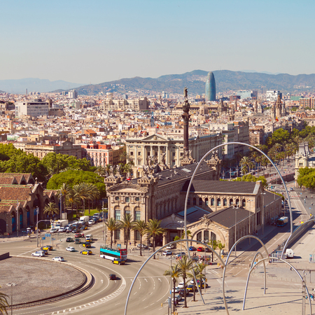 columb: View of Barcelona city from port side. Catalonia, Spain Editorial