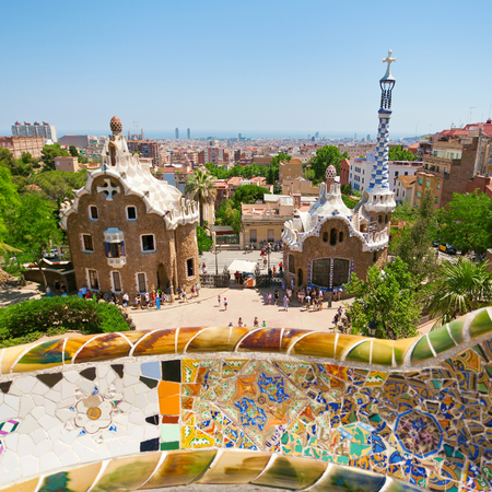Park Guell by architect Gaudi in a summer day  in Barcelona, Spain. 新聞圖片
