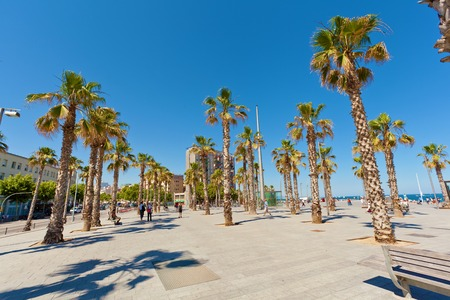 barcelona: Barceloneta beach in Barcelona, Spain. View of the beach of Barceloneta.