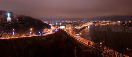 City night landscape of Kiev, Ukraine