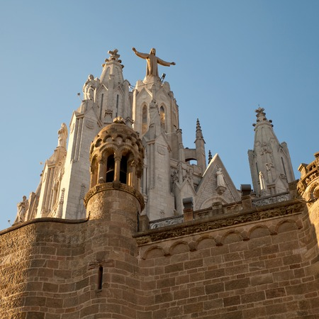 cor: The Sagrat Cor church atop the mountain. Barcelona, Spain.