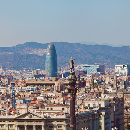 columb: View of Barcelona city from port side. Catalonia, Spain Stock Photo