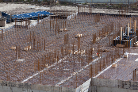The reinforcement slab building. Floor slab. Stage of construction apartment building.