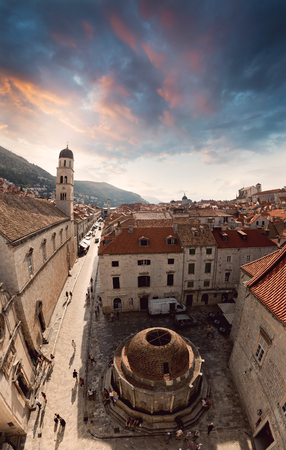 Beautiful view of the walled city, Dubrovnik Croatia. The mysterious atmosphere and processing. Wide viewing angle.