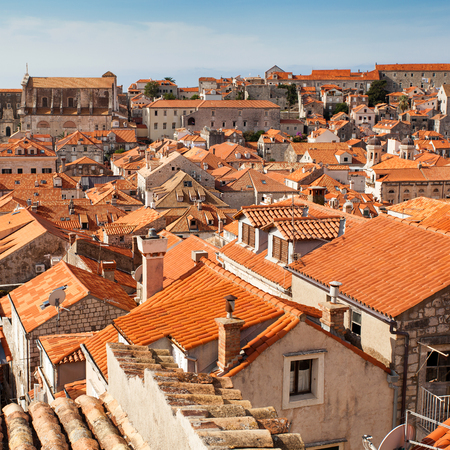 historical building: View of the roofs of the old city of Dubrovnik in Croatia