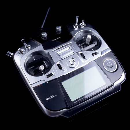 transmitter: Transmitter control for a RC helicopters and RC airplanes. Remote control for copter, helicopter and airplane