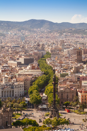 ramblas: Ramblas pedestrian street in the center of Barcelona. Landmark of Barcelona. Airview on the Rambla.