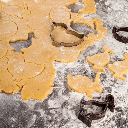 The process of making fragrant Easter cookies with spices and honey from the dough.