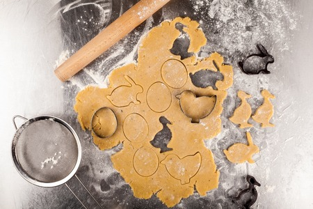 The process of making fragrant Easter cookies with spices and honey from the dough. View from above. Top view.