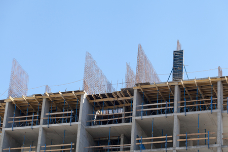constructional: Monolithic frame construction of the building. The framework for the walls. Stock Photo