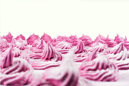 blackcurrant: Delicious homemade sweet pink marshmallow with blackcurrant, dusted with icing sugar on a white background. Cooking process.