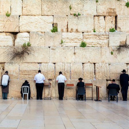 The stones of the Western Wall of the destroyed Temple of the Jews. Judaism. Jerusalem. Israel. Banco de Imagens - 60919910