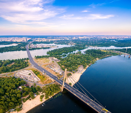 highway traffic: Aerial view of highway interchange of a city. Top view, from above. Moscow bridge. Kiev. Ukraine.