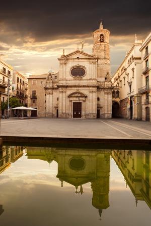 merce: Basilica of Merce at sunrise in the Gothic quarter.