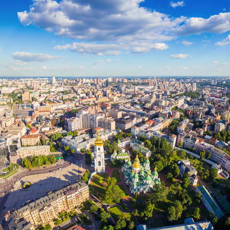 Kiev City skyline aerial view.