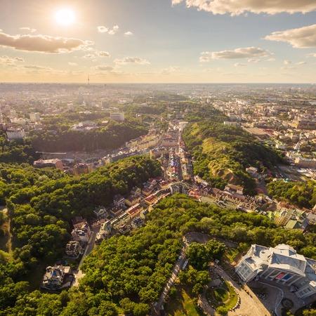 Kiev City skyline aerial view. Cityscape of capital of Ukraine. View of the Exaltation quarter.