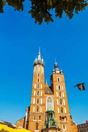 Church of St. Mary in the main Market Square. Basilica Mariacka. Krakow. Poland.