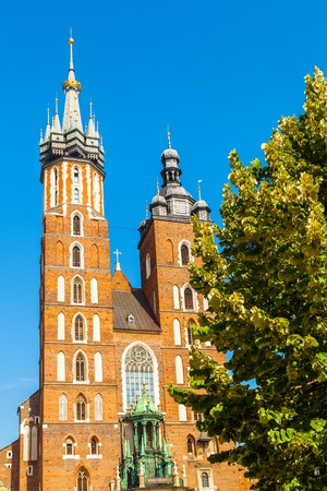 main market: Church of St. Mary in the main Market Square. Basilica Mariacka. Krakow. Poland.
