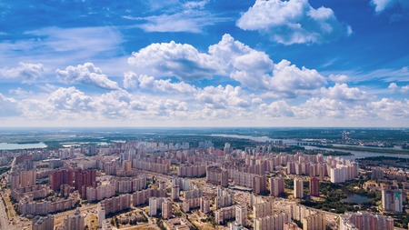 zoning: Dormitory area of the Kiev city in the summer. Aerial view. From above.