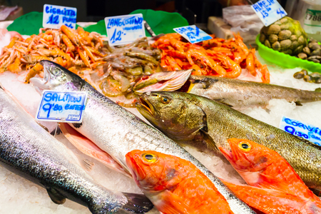 A long counter with various fish and shellfish in Boqueria market. Barcelona.
