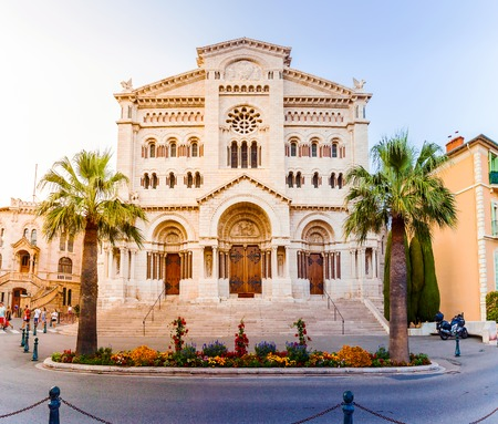 cathedrale: Exterior of the Monaco Cathedral in Monaco-Ville. Beautiful bright church in the last rays of the sun. Cathedrale de Monaco.