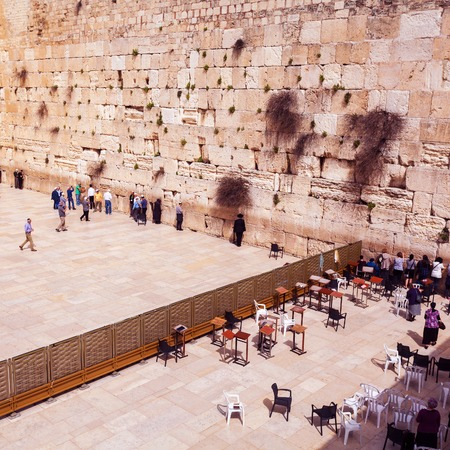 judaism: JERUSALEM, ISRAEL - MARCH 09, 2016: The area with tourists and pilgrims in front of the Western Wall in Jerusalem. Judaism. Israel. Editorial