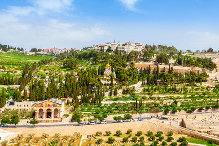 jewish town: Mount of Olives and the old Jewish cemetery in Jerusalem, Israel. Gethsemane and Church of Mary Magdalene foreground. Stock Photo