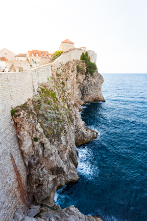 Beautiful view of the walled city, Dubrovnik Croatia. The mysterious atmosphere and processing. Stock Photo