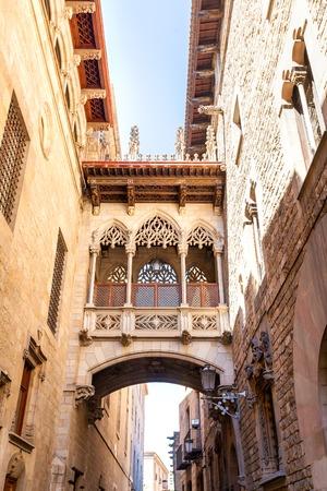 carrer: Bridge at Carrer del Bisbe in Barri Gotic, Barcelona. Gothic bridge