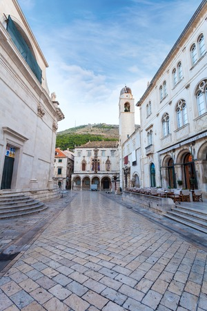 Stradun street at old part of the city early in the morning. Dubrovnic, Croatia. Fortification. Reklamní fotografie - 67132489