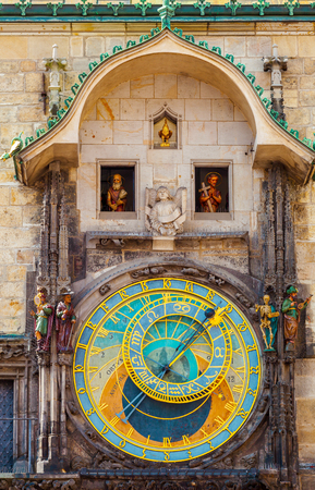 Prague astronomical clock in the building of the Old Town Hall. Prague, Czech Republic. Stock Photo