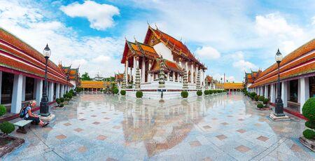 Wat Suthat Thep Wararam in Bangkok, Thailand. Suthattepwararam Temple. Stock Photo