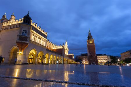 Cloth Hall well known as sukiennice at night. Market Square - main square in old city. Krakow Poland.