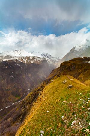 Panorama at the Georgia Mountains near Gudauri. Caucasus mountains