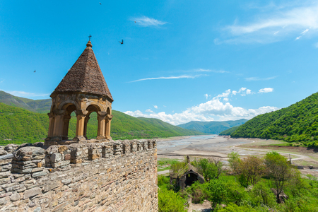 Nice panoramic view of the fortress Ananuri, standing on the shore of the reservoir Zhinvali. Georgia Stock Photo