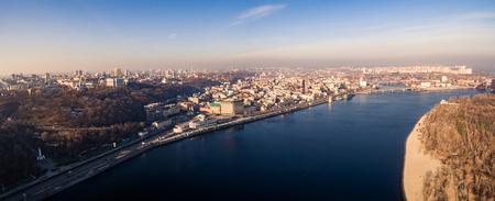 Aerial view of Kiev, Ukraine in winter.