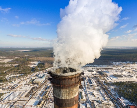 Heat electric station in winter Stock Photo